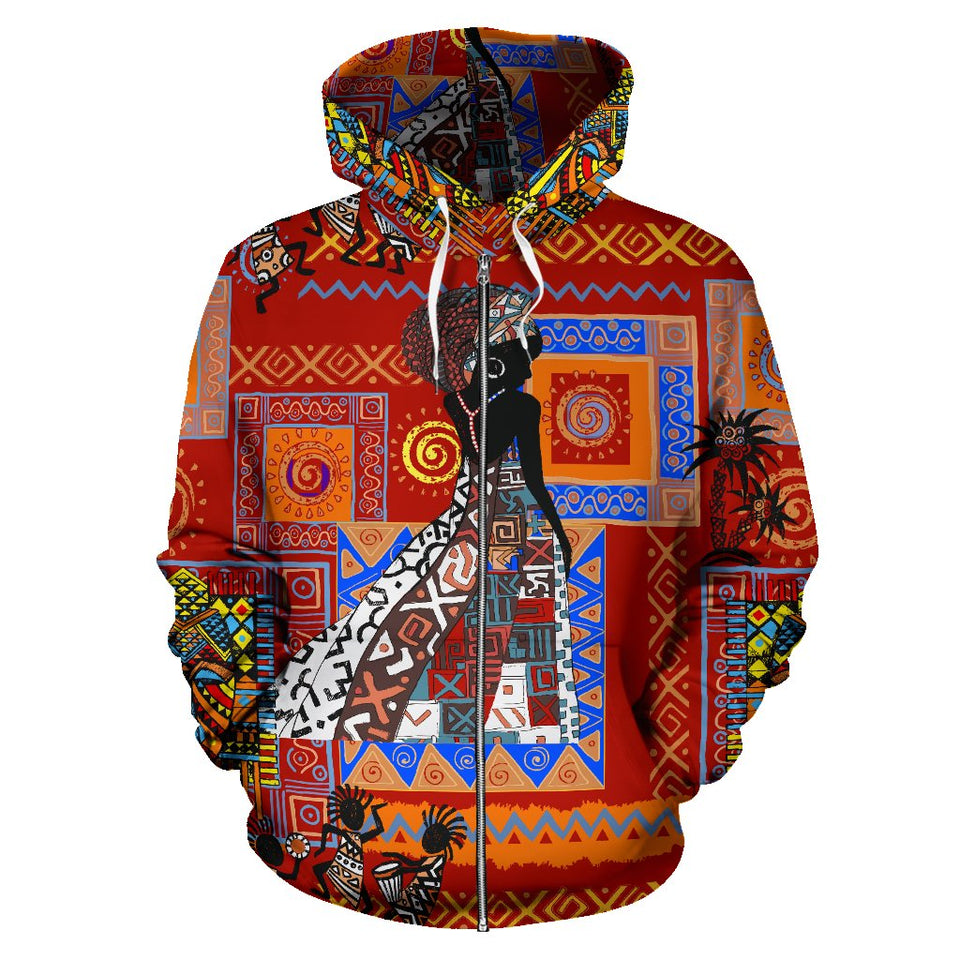 African Print Pattern All Over Zip Up Hoodie