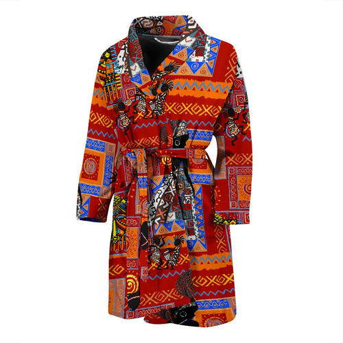 African Print Pattern Men Bath Robe
