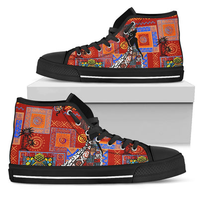 African Print Pattern Men High Top Shoes
