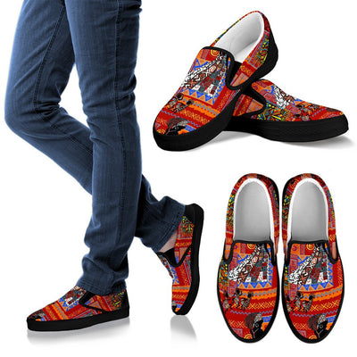 African Print Pattern Men Slip On Shoes