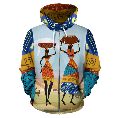 African Safari All Over Zip Up Hoodie