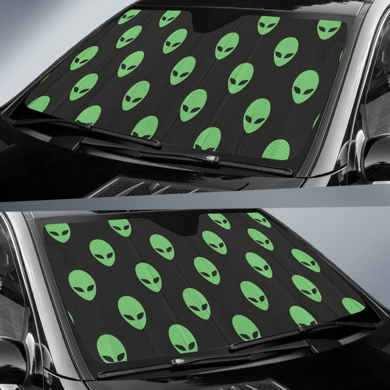 Alien Green Neon Pattern Print Design 01 Car Sun Shade-JORJUNE.COM