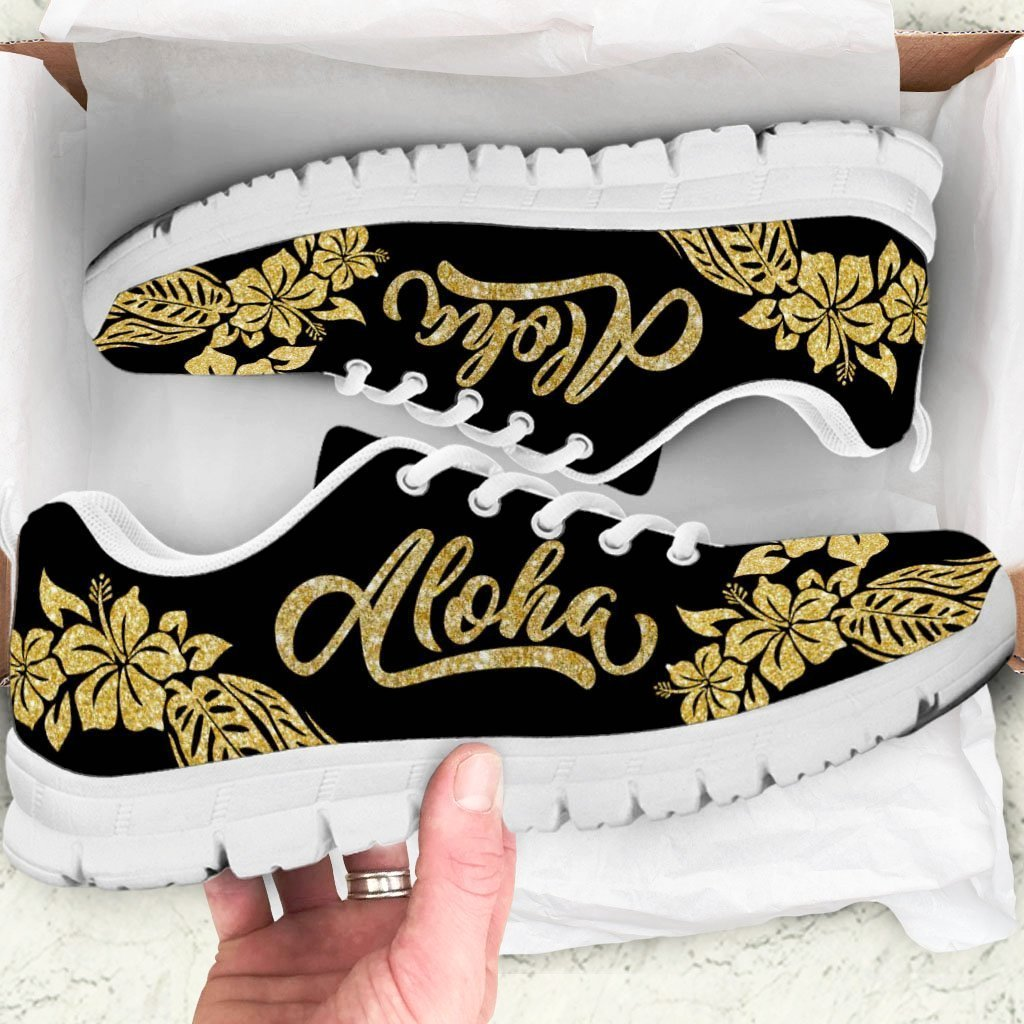 Aloha Hawaii Gold Glitter Black Women Sneakers
