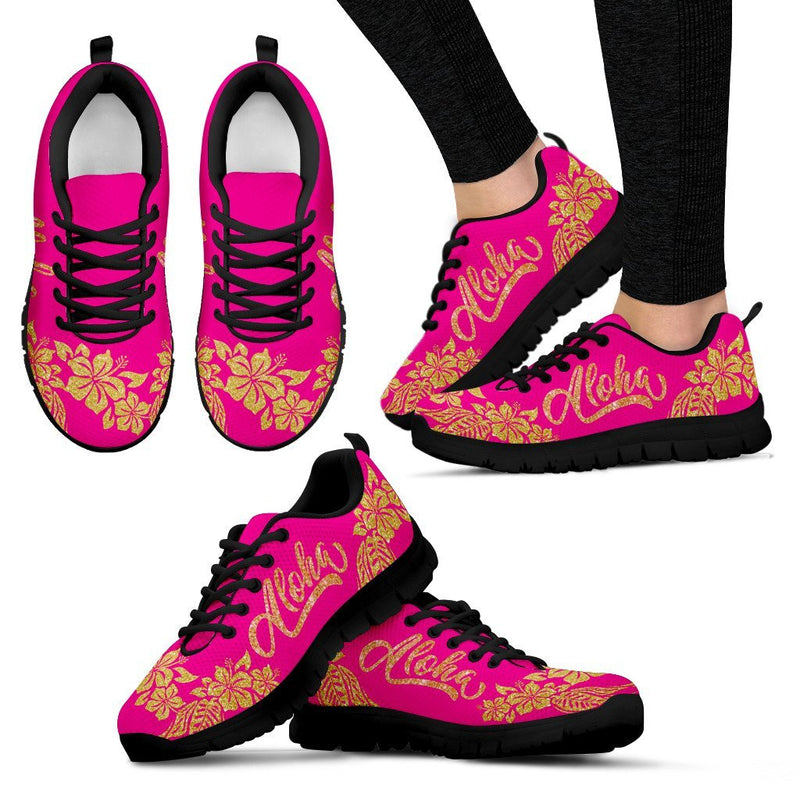 Aloha Hawaii Gold Glitter Magenta Women Sneakers