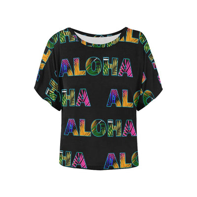 Aloha Hawaii Neon Women Batwing Tops Shirt