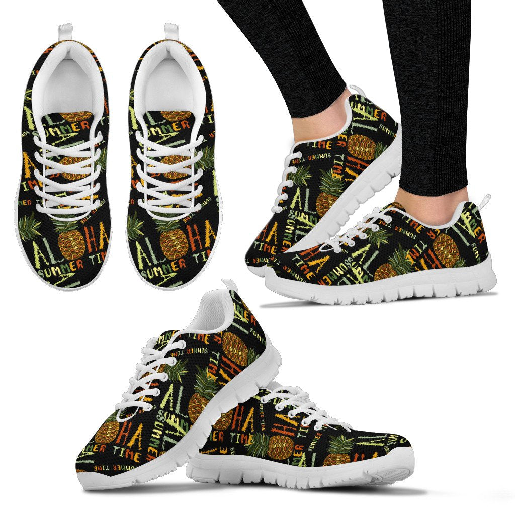 Aloha Hawaii Time Design Themed Print Women Sneakers