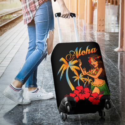 Aloha Hawaiian Girl Luggage Cover Protector