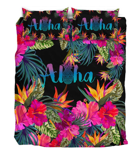 Aloha Hawaiian Tropical Flower Duvet Cover Bedding Set