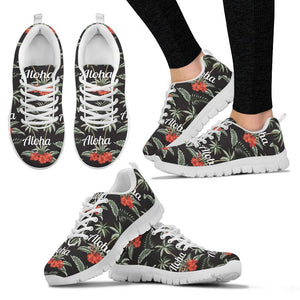 Aloha Palm Tree Design Themed Print Women Sneakers Shoes