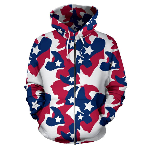 American flag Camo Camouflage Print All Over Zip Up Hoodie