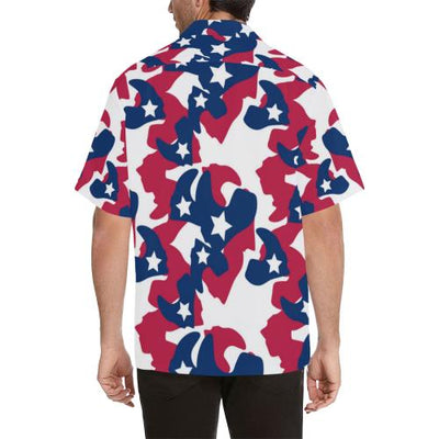 American flag Camo Print Men Hawaiian Shirt