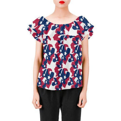 American flag Camo Camouflage Print Off Shoulder Ruffle Blouse