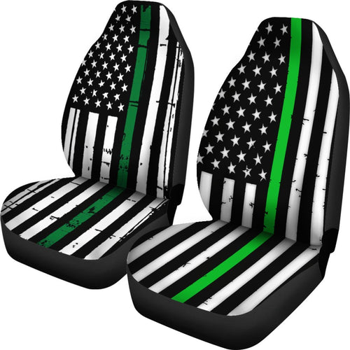 American Flag Green Line Universal Fit Car Seat Covers
