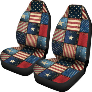 American Flag Patchwork Design Universal Fit Car Seat Covers