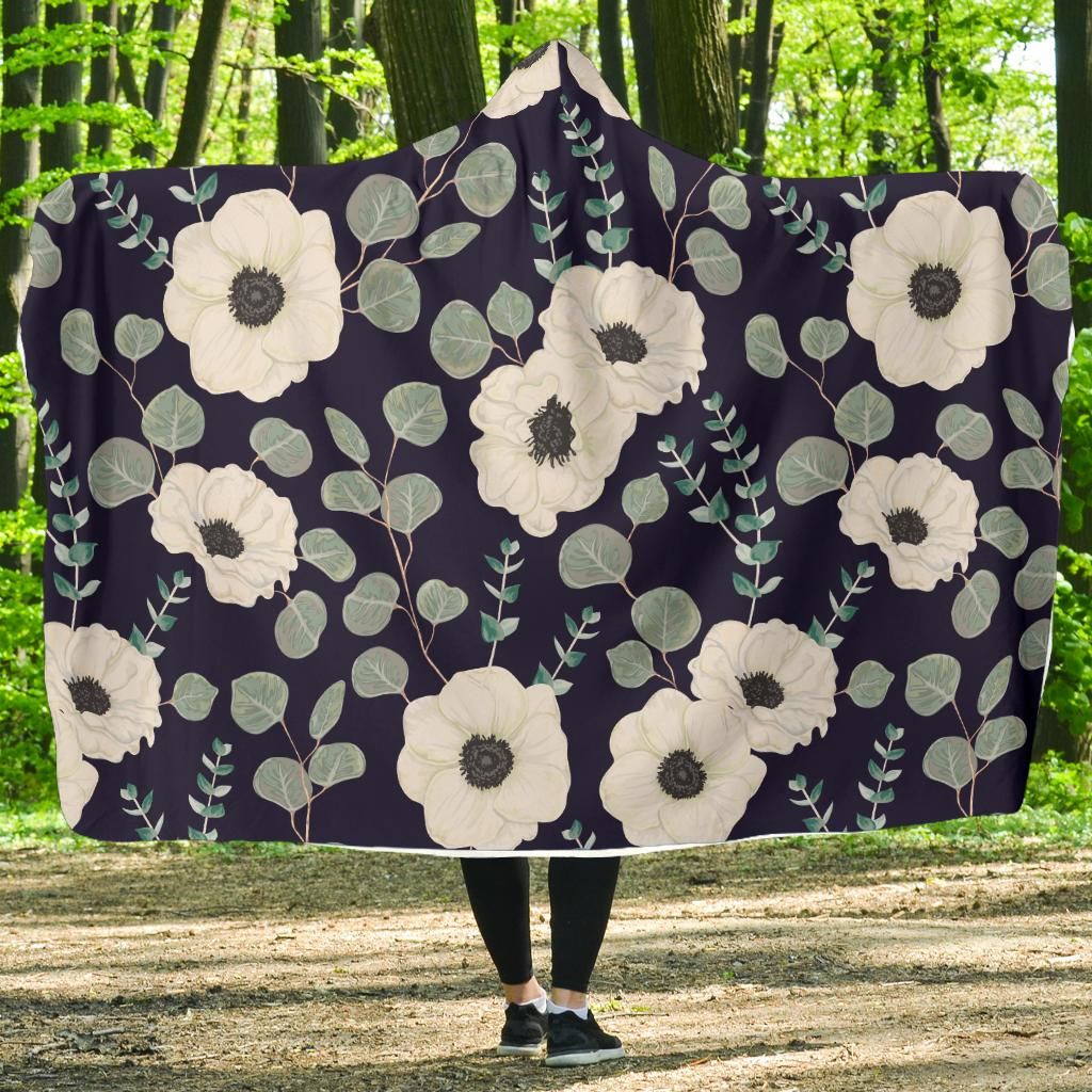 Anemone Pattern Print Design AM01 Hooded Blanket-JORJUNE.COM