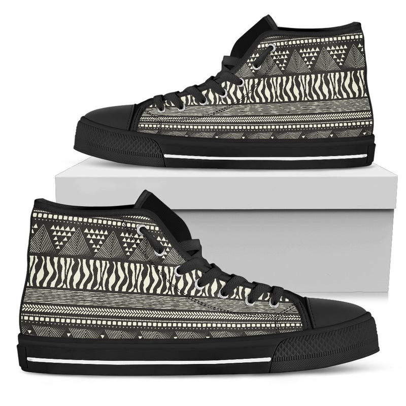 Animal Skin Aztec Pattern Men High Top Canvas Shoes