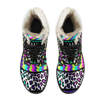 Animal Skin Aztec Rainbow Faux Fur Leather Boots