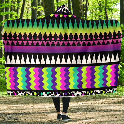 Animal Skin Aztec Rainbow Hooded Blanket-JORJUNE.COM