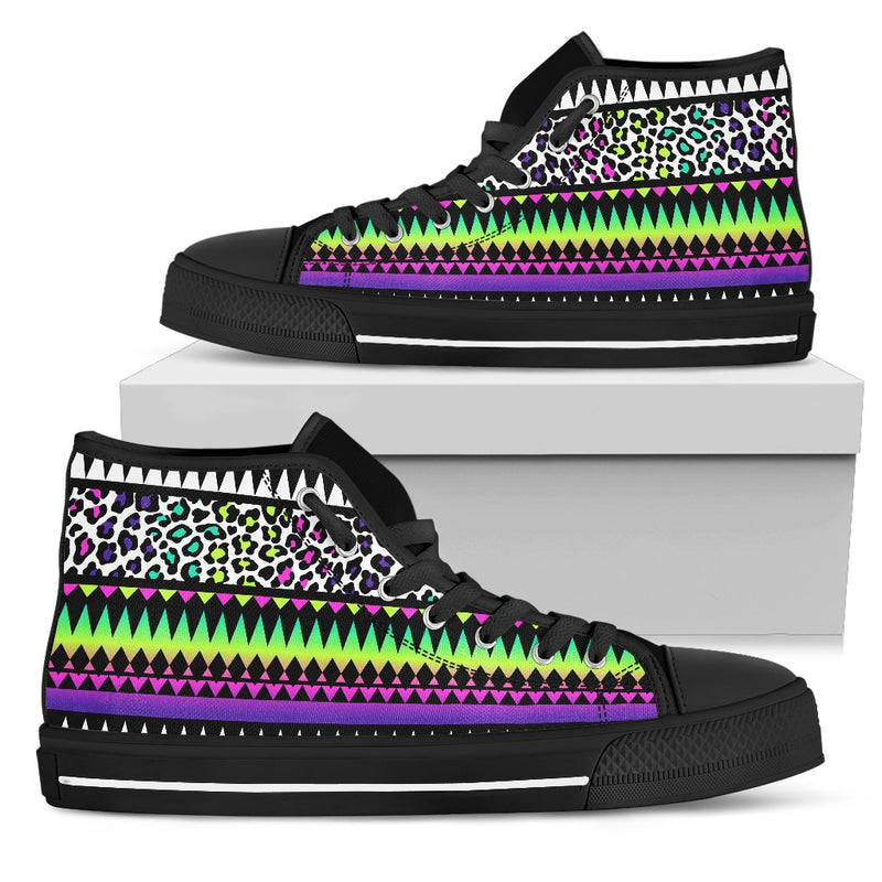 Animal Skin Aztec Rainbow Men High Top Canvas Shoes