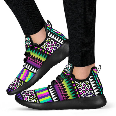 Animal Skin Aztec Rainbow Mesh Knit Sneakers Shoes