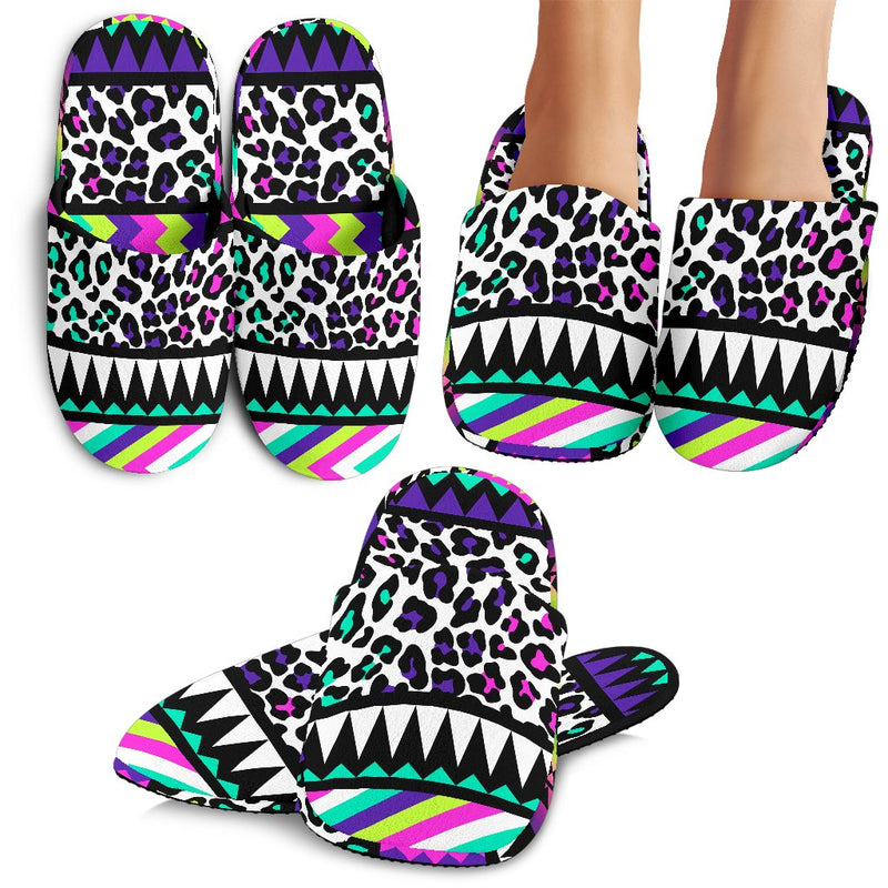 Animal Skin Aztec Rainbow Slippers