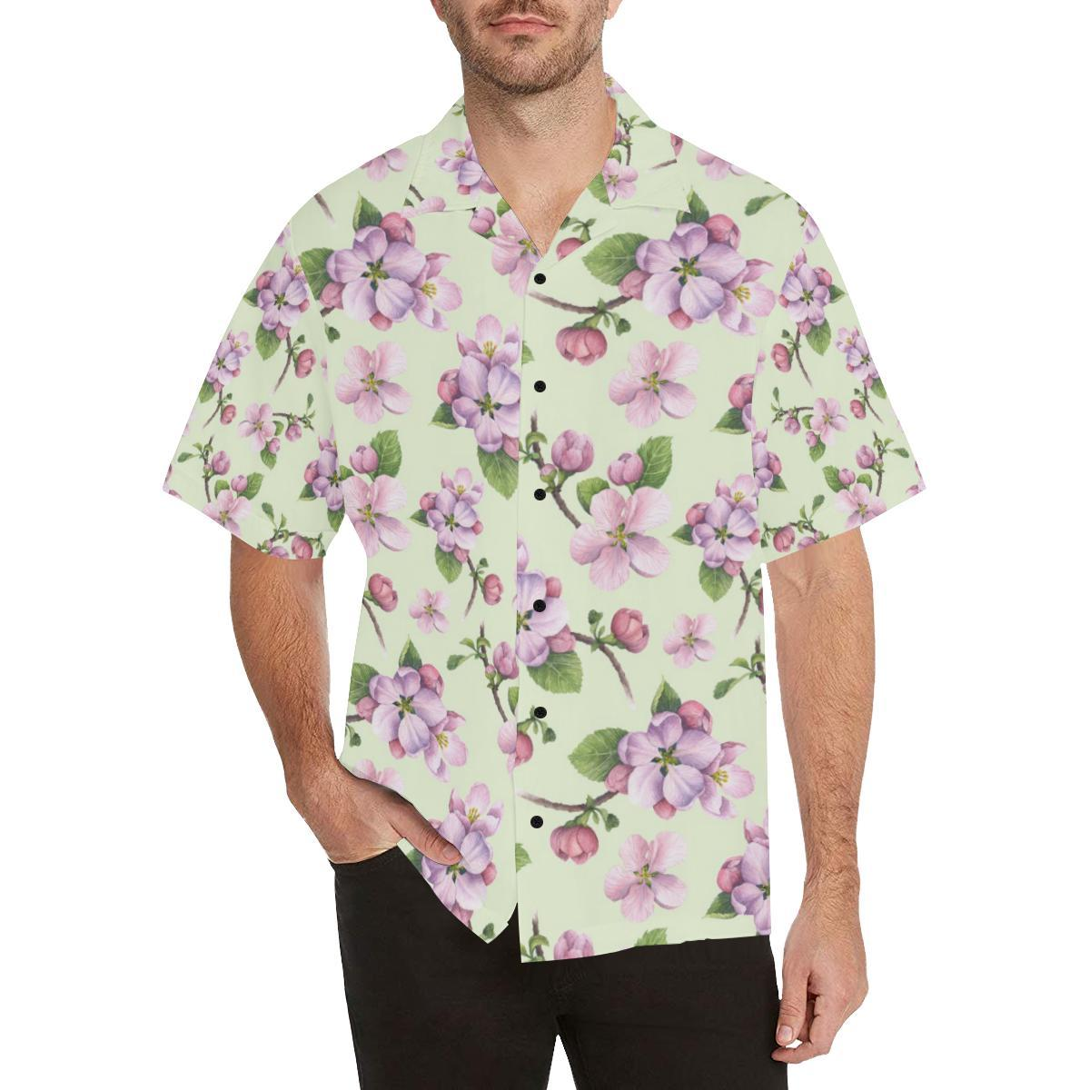 Apple blossom Pattern Print Design AB05 Men Hawaiian Shirt-JorJune