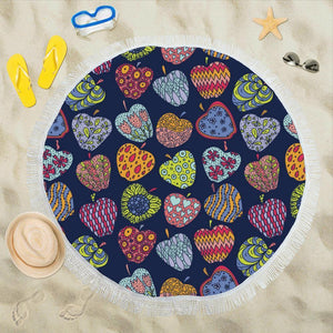Apple Pattern Print Design AP05 Round Beach Towel-JorJune.com