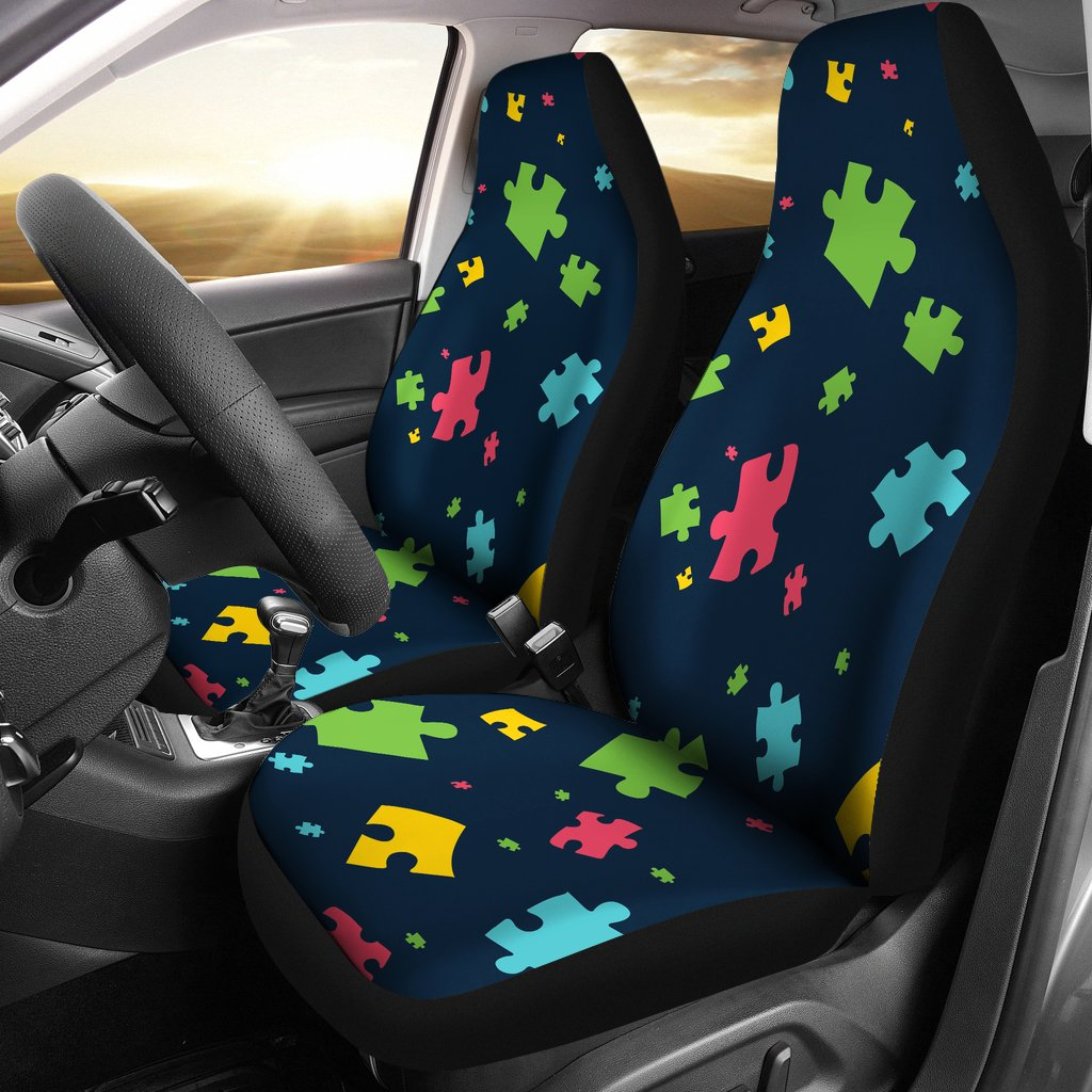 Autism Awareness Colorful Design Print Universal Fit Car Seat Covers