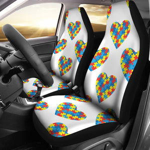 Autism Awareness Heart Design Print Universal Fit Car Seat Covers