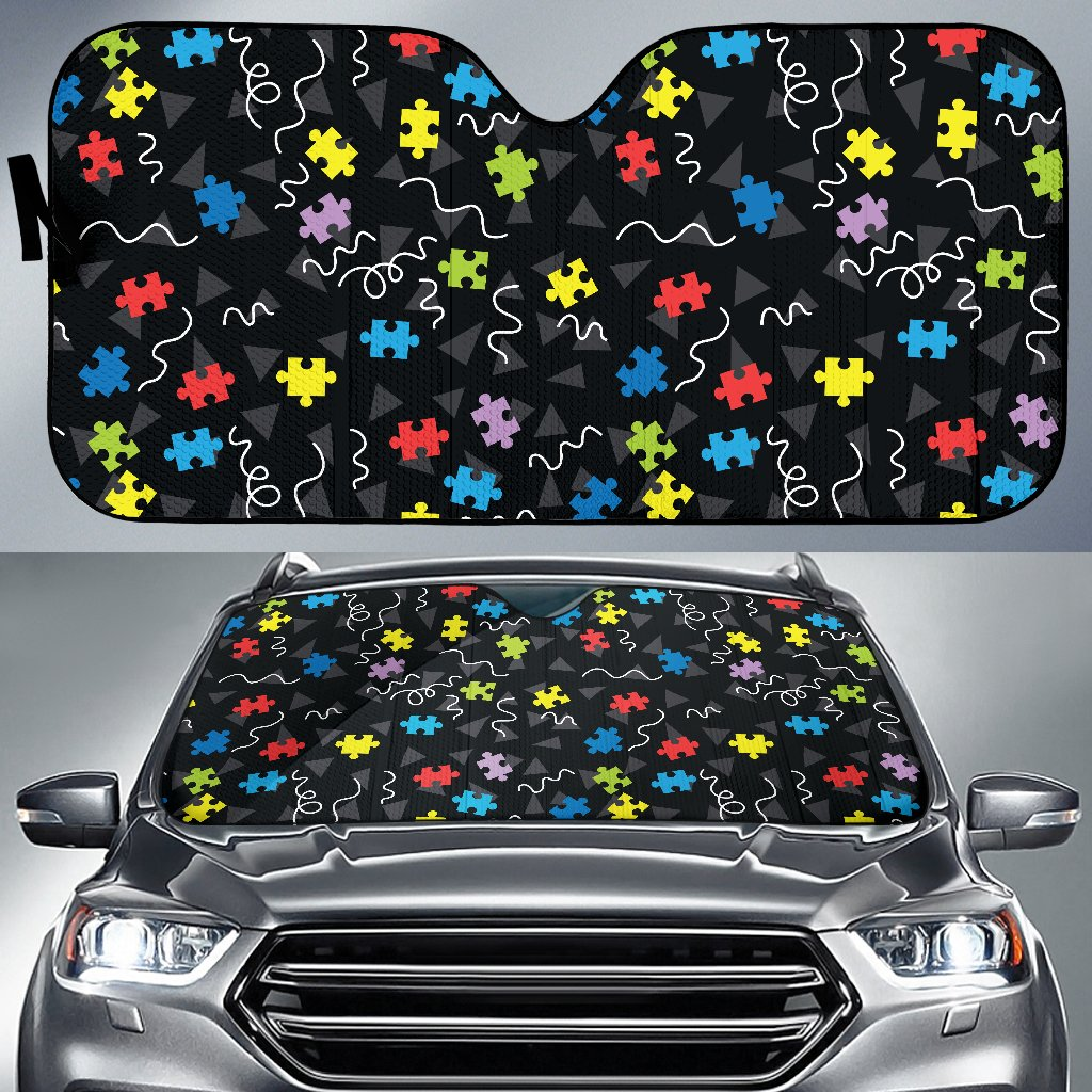 Autism Awareness Pattern Print Design 01 Car Sun Shade-JORJUNE.COM