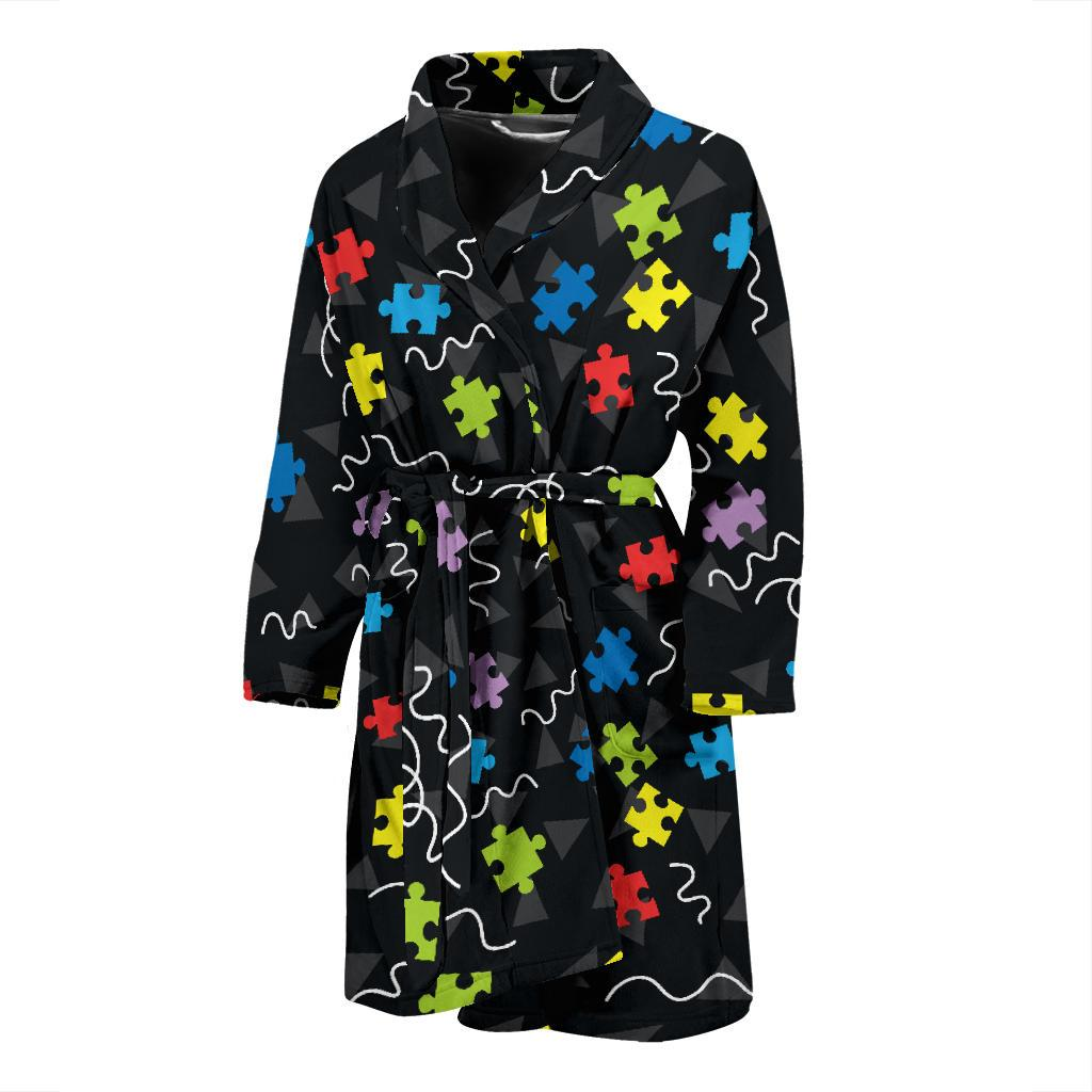 Autism Awareness Pattern Print Design 01 Men Bathrobe-JORJUNE.COM