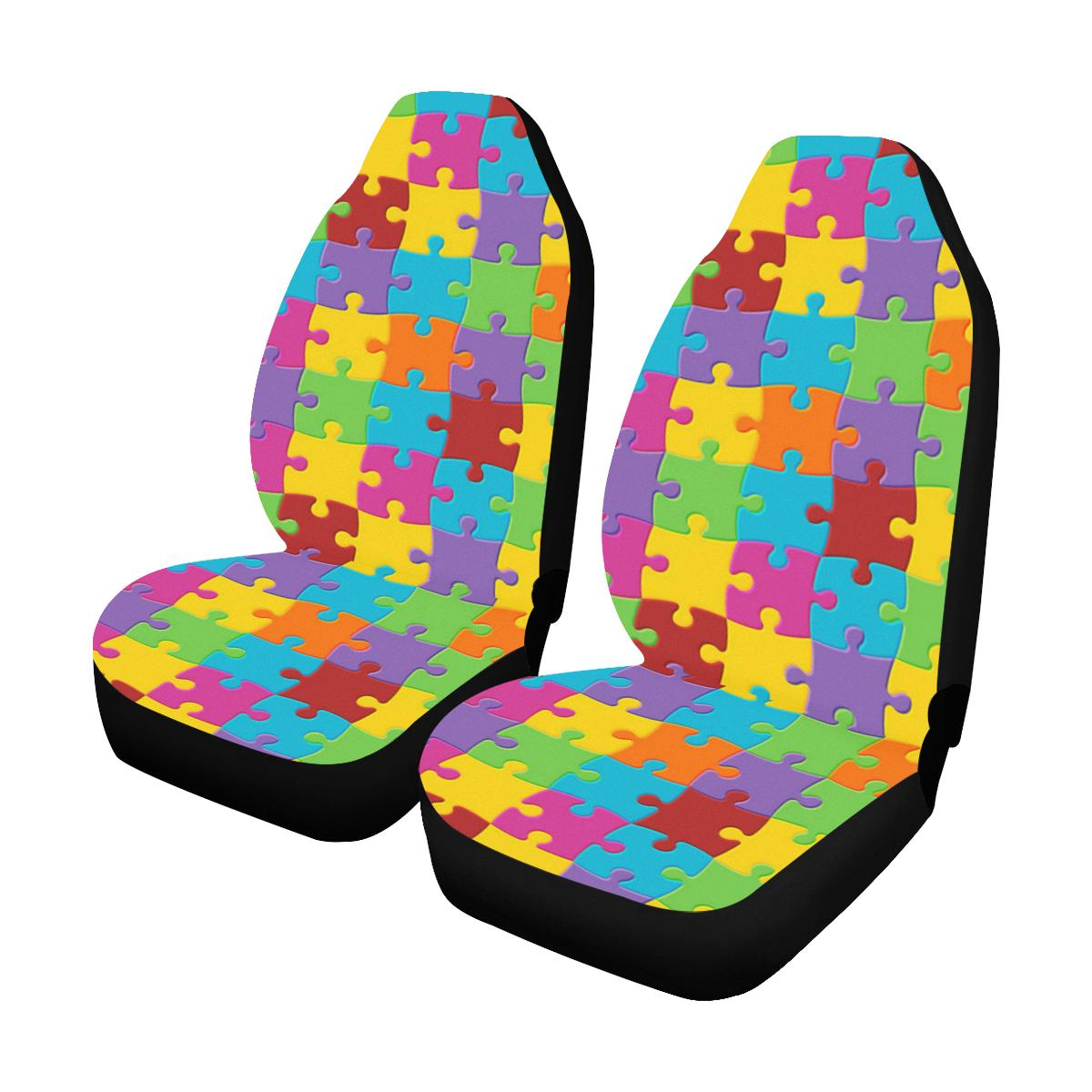 Autism Awareness Pattern Print Design 02 Car Seat Covers (Set of 2)-JORJUNE.COM