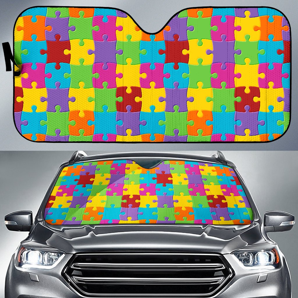 Autism Awareness Pattern Print Design 02 Car Sun Shade-JORJUNE.COM