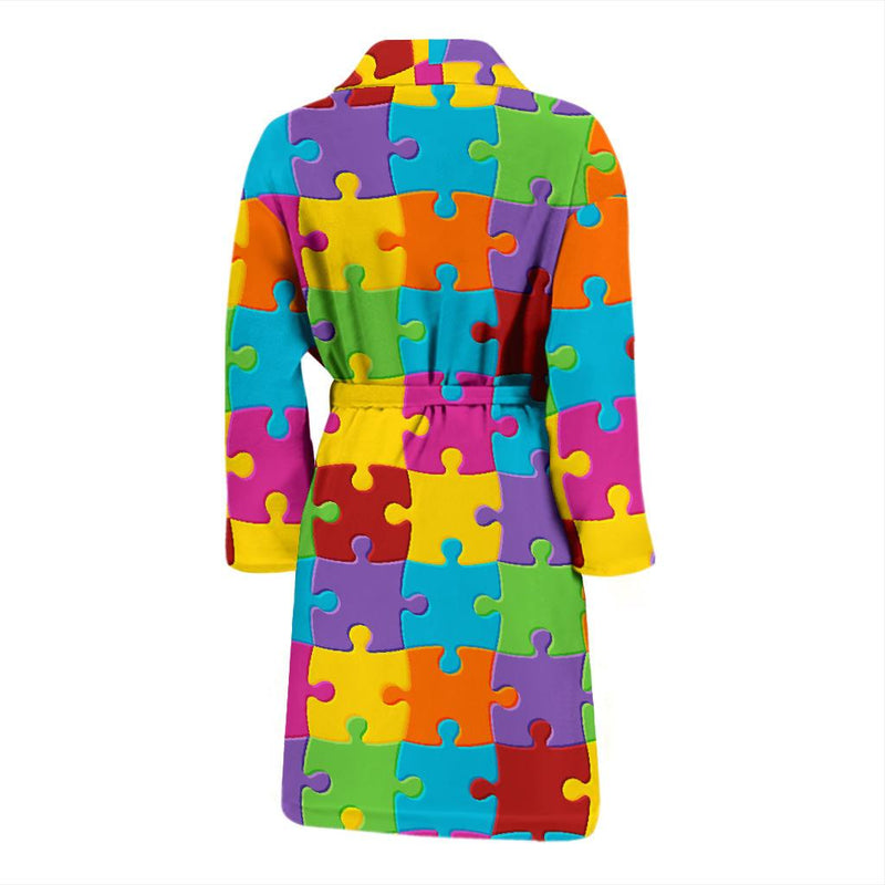 Autism Awareness Pattern Print Design 02 Men Bathrobe-JORJUNE.COM