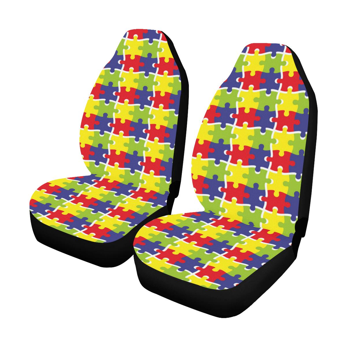 Autism Awareness Pattern Print Design 03 Car Seat Covers (Set of 2)-JORJUNE.COM