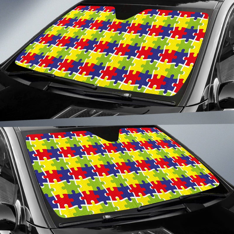 Autism Awareness Pattern Print Design 03 Car Sun Shade-JORJUNE.COM