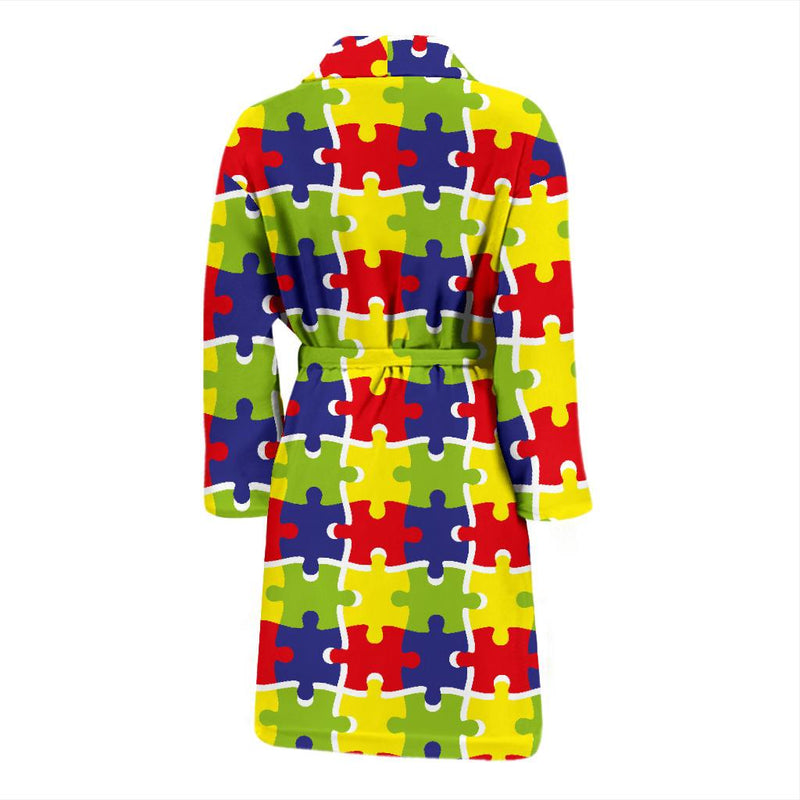 Autism Awareness Pattern Print Design 03 Men Bathrobe-JORJUNE.COM