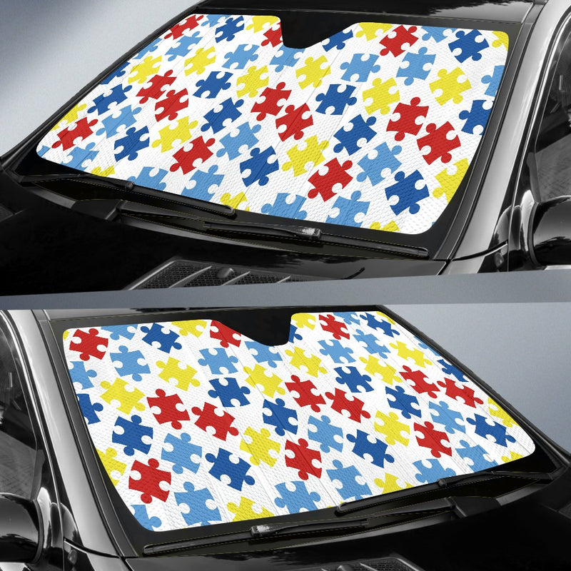 Autism Awareness Pattern Print Design 04 Car Sun Shade-JORJUNE.COM