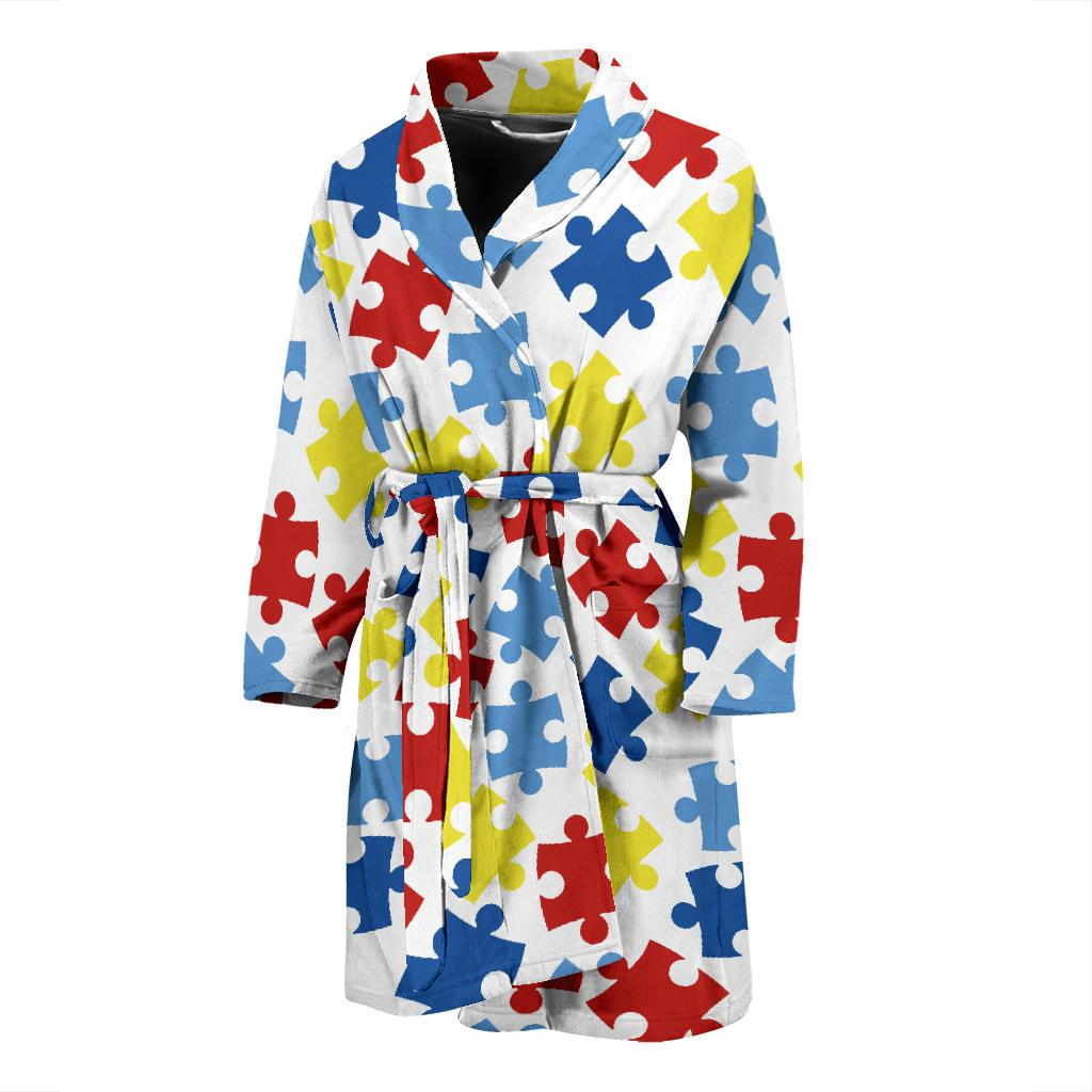 Autism Awareness Pattern Print Design 04 Men Bathrobe-JORJUNE.COM