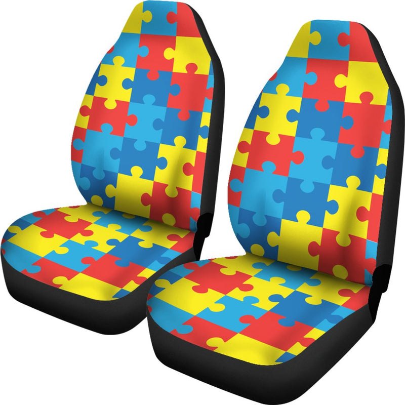 Autism Awareness Puzzles Design Print Universal Fit Car Seat Covers