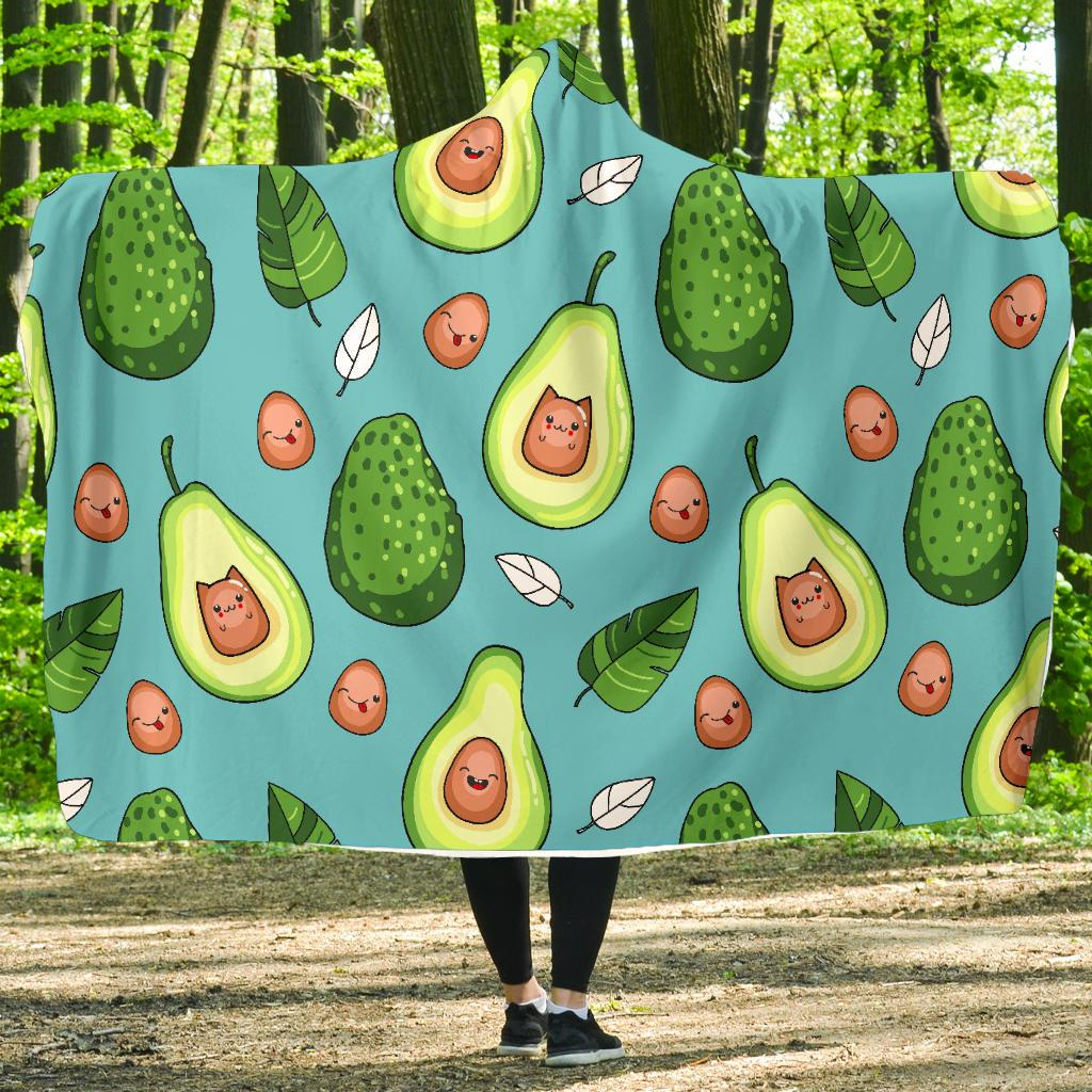 Avocado Pattern Print Design AC05 Hooded Blanket-JORJUNE.COM
