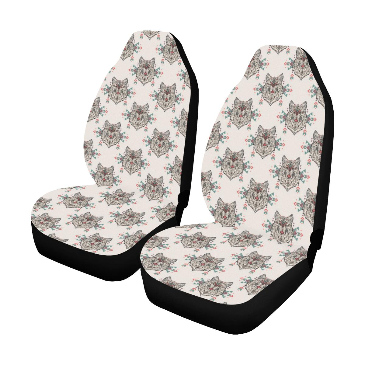 Aztec Wolf Pattern Print Design 01 Car Seat Covers (Set of 2)-JORJUNE.COM