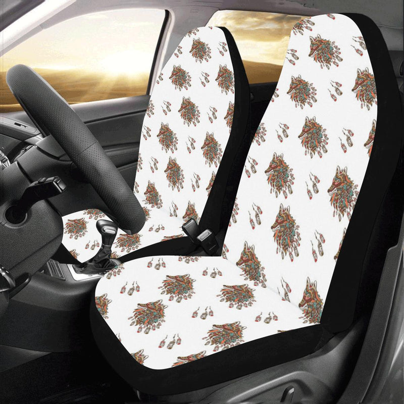 Aztec Wolf Pattern Print Design 02 Car Seat Covers (Set of 2)-JORJUNE.COM