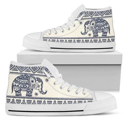 Baby Elephant Aztec Men High Top Canvas Shoes