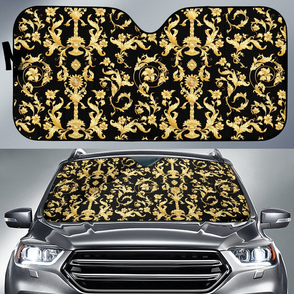 Baroque Golden Pattern Print Design 04 Car Sun Shade-JORJUNE.COM