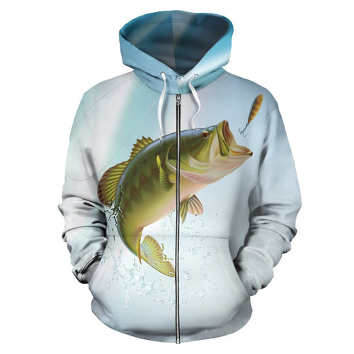 Bass Fishing All Over Zip Up Hoodie