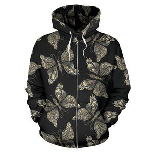 Beautiful Butterfly Pattern All Over Zip Up Hoodie