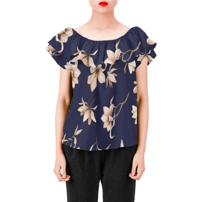 Beautiful Floral Pattern Off Shoulder Ruffle Blouse