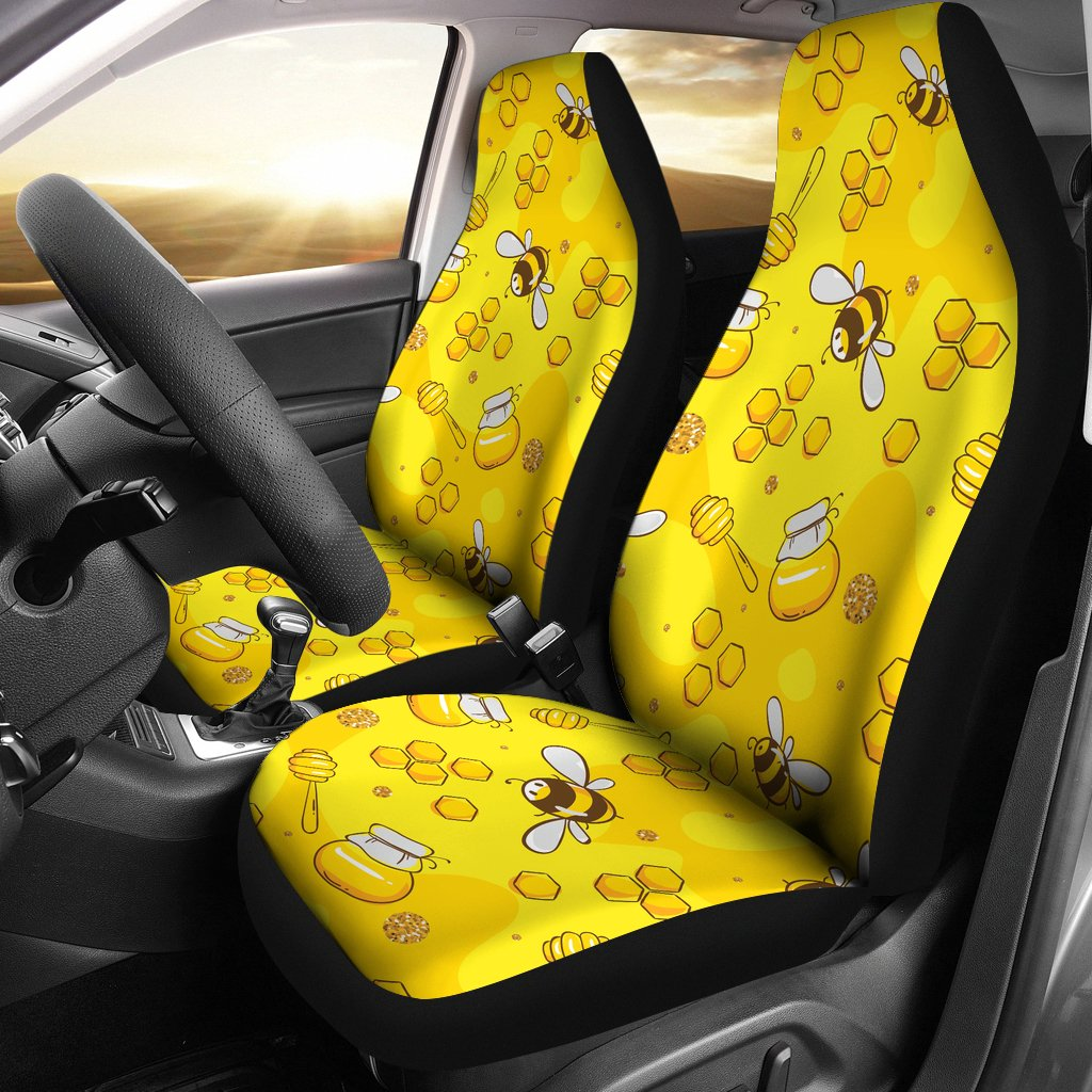 Bee Pattern Print Design BEE01 Universal Fit Car Seat Covers