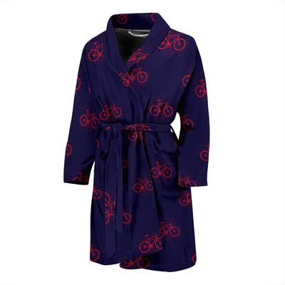 Bicycle Pattern Print Design 01 Men Bathrobe-JORJUNE.COM